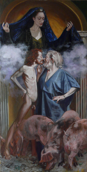 THE PRODIGAL PARABALE by André Durand (2010) (podigal son, pigs, swine, harlot, Isis)