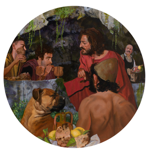 SUPPER AT EMMAUS WITH ULYSSES AND ARGOS by André Durand (2013) (Christ, Jesus, hound, Argos, supper, grotto, villa di Tiberius)
