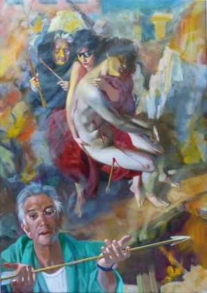 ANTONELLO COLANGELI WITH SAINT SEBASTIAN - EARTHQUAKE IN AQUILA 2009 by André Durand (2016) (Aquila, earthquake)