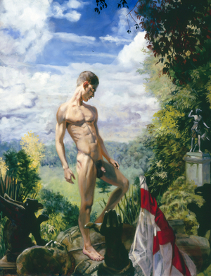 DAVID AT POLESDEN LACEY by André Durand (2008) (male nude, Saddam Hussein, circumsized)
