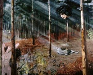 ORPHIC MYSTERY by André Durand (2006) (female nude, saint, snake, Orpheus, male nude, forest)